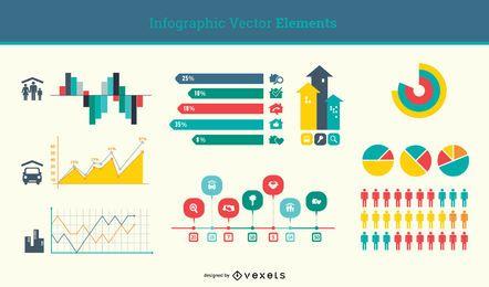 Flaches minimales Infographik Element Set