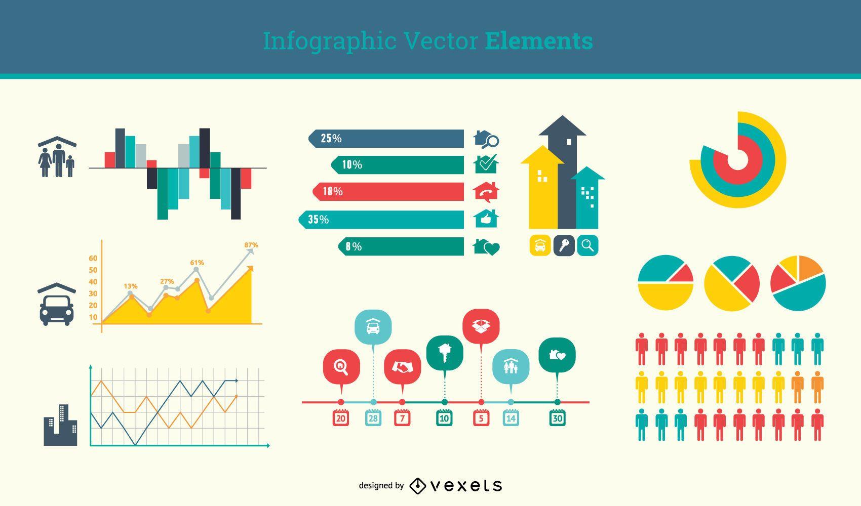 Conjunto de elementos de infografía mínima plana