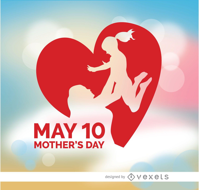 Día de la madre levantando el corazón de su hija