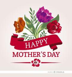 Flores da fita do dia das mães