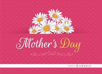 Cartão do Dia das Mães margaridas