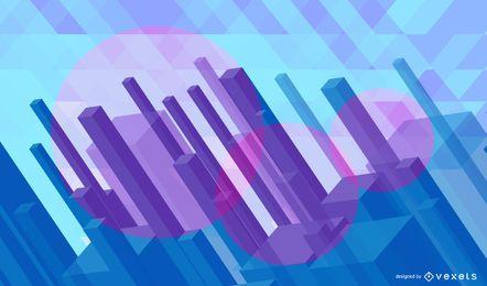 Fondo abstracto del paisaje urbano poligonal 3D
