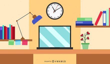 Mesa do computador dos desenhos animados do espaço de trabalho