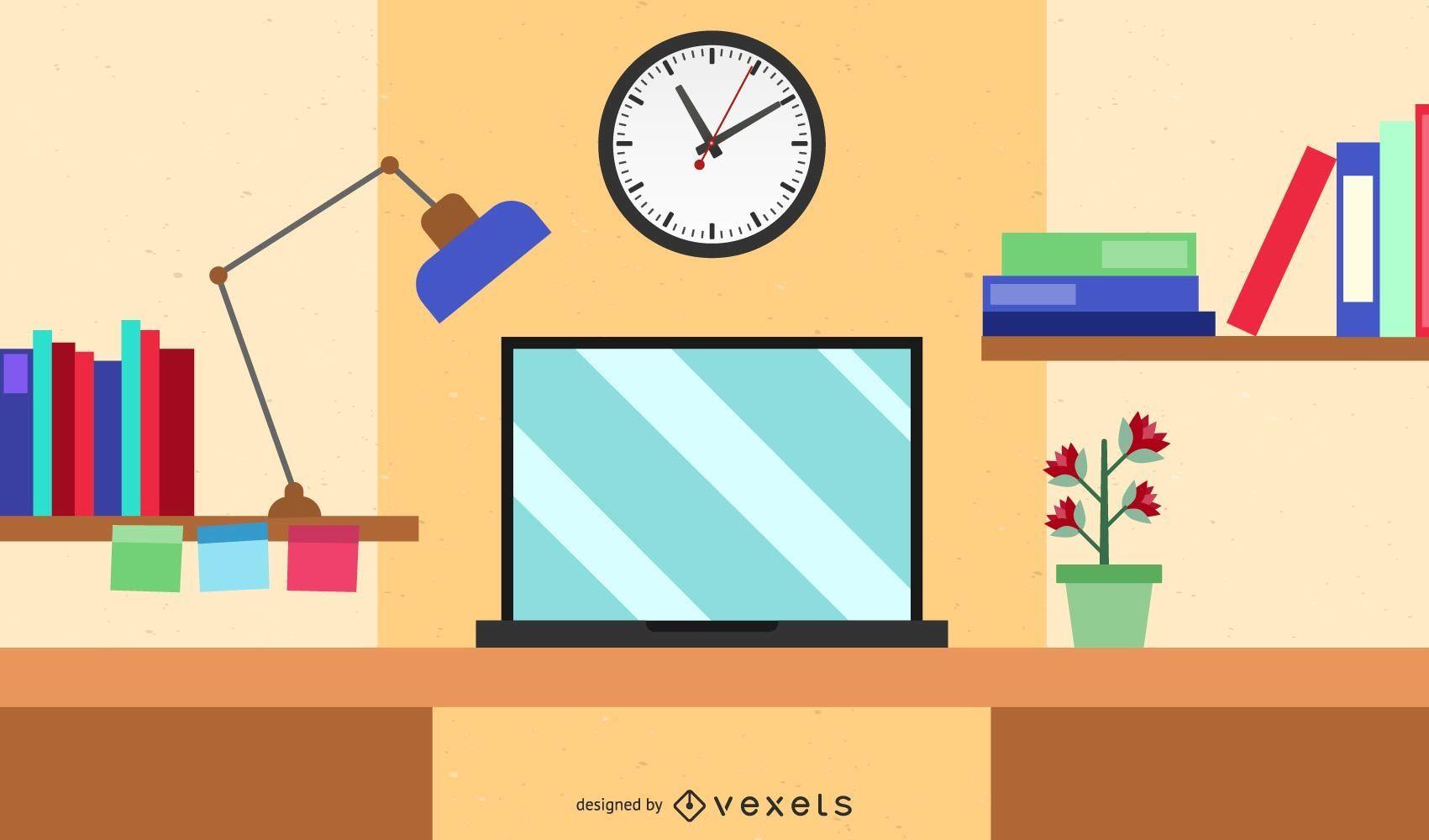Mesa Do Computador Dos Desenhos Animados Do Espaco De Trabalho Baixar Vector