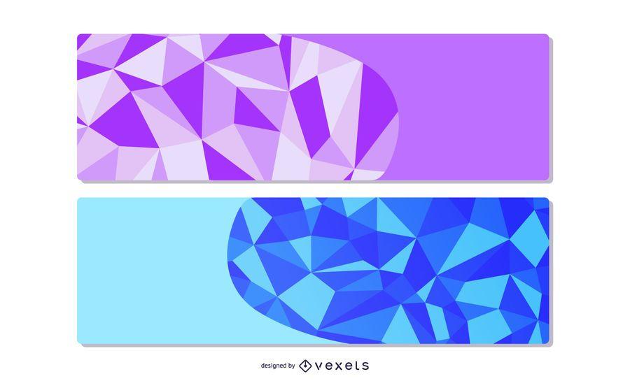 Banners elegantes de origami poligonal