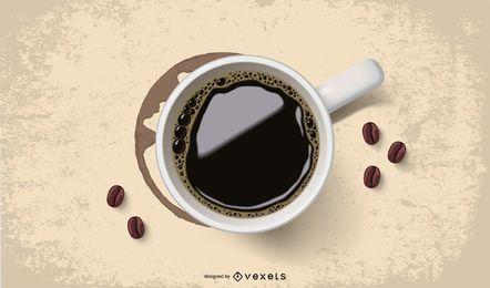 Taza realista de café con mancha