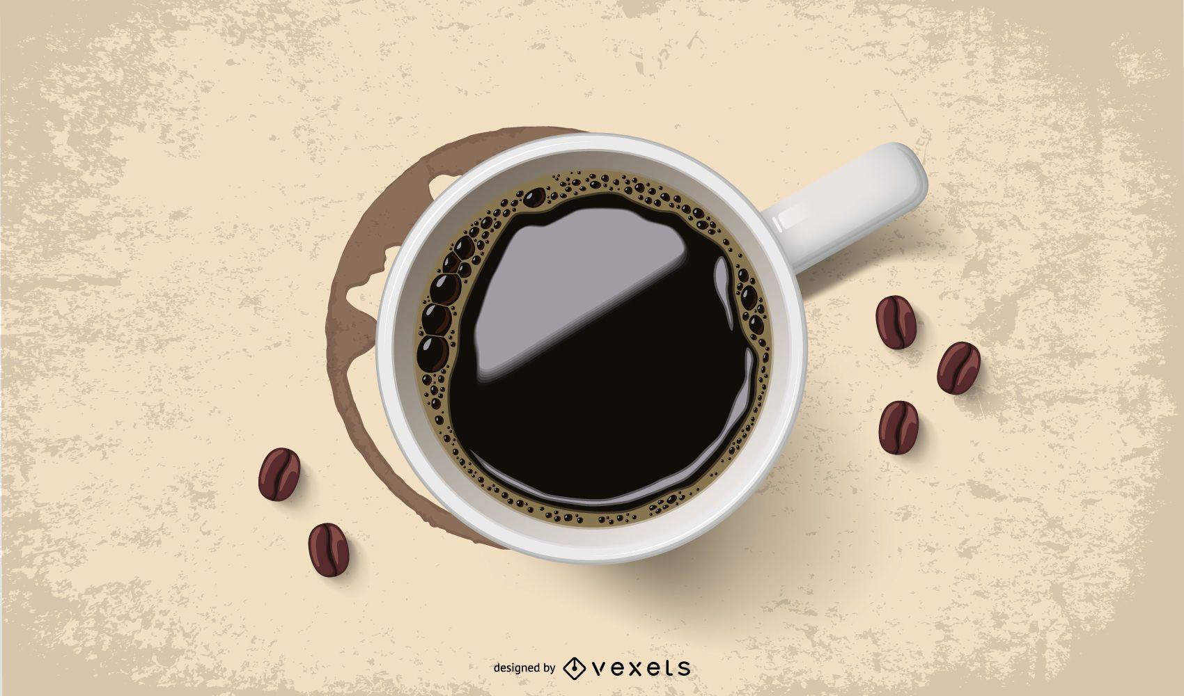 Realistische Tasse Kaffee mit Fleck