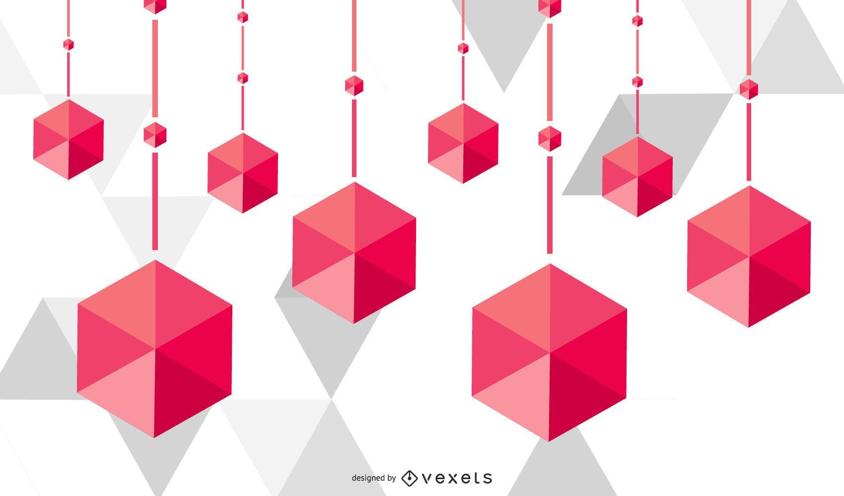 Fondo de decoración cubista poligonal colgante