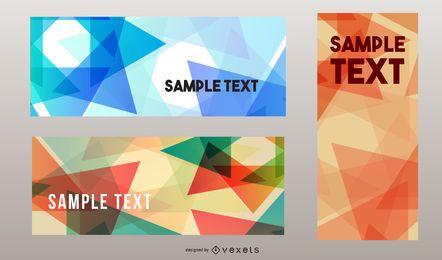 Conjunto de plantillas de banner de triángulos coloridos abstractos