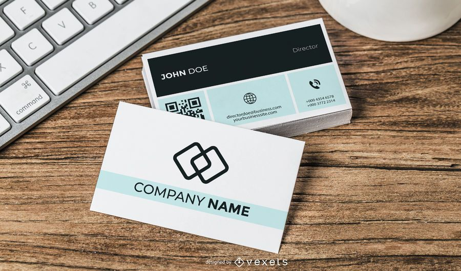 simplistic business card with qr code  vector download