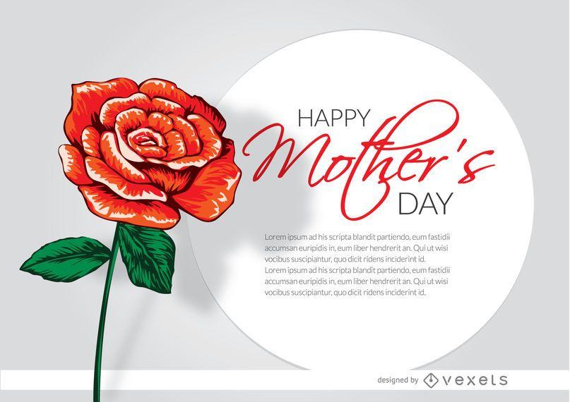 Dia das Mães desenhado cartão rosa