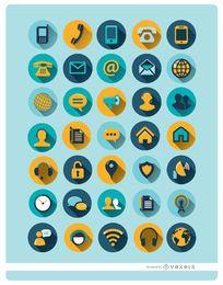 35 iconos de la comunicación redondas