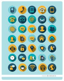 35 round communication icons