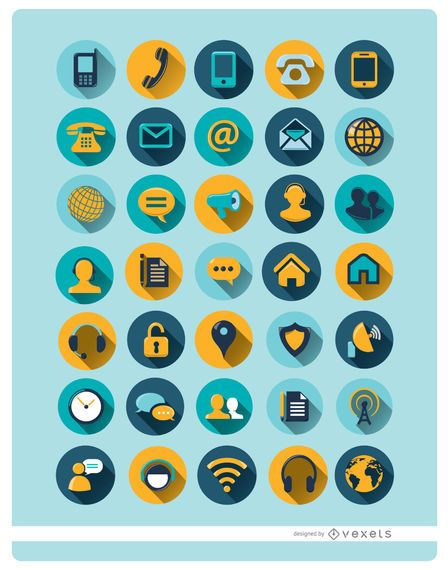35 ícones de comunicação redondos