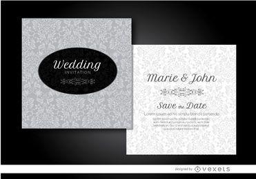 Convite de casamento floral cinza