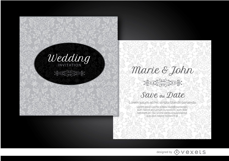 Gray floral wedding invitation