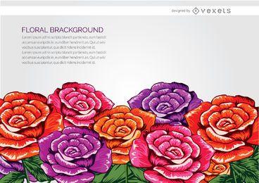 Fondo de flores dibujadas