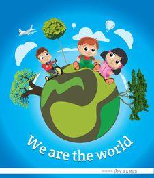 Cartel de la tierra del mundo de los niños