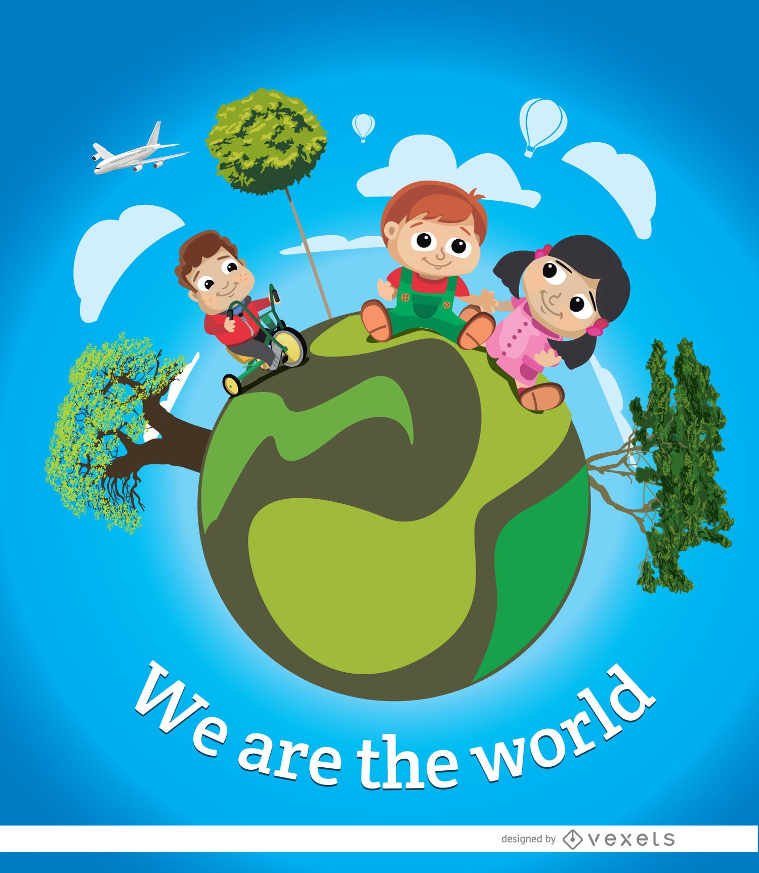 Cartel de la tierra del mundo infantil - Descargar vector