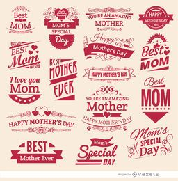 16 emblemas do vintage do Dia das Mães