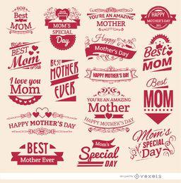 16 emblemas vintage do dia das mães