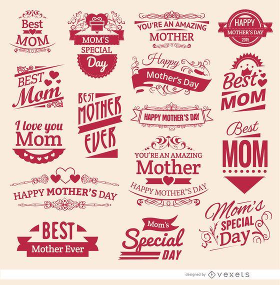 16 insignias vintage del Día de la Madre