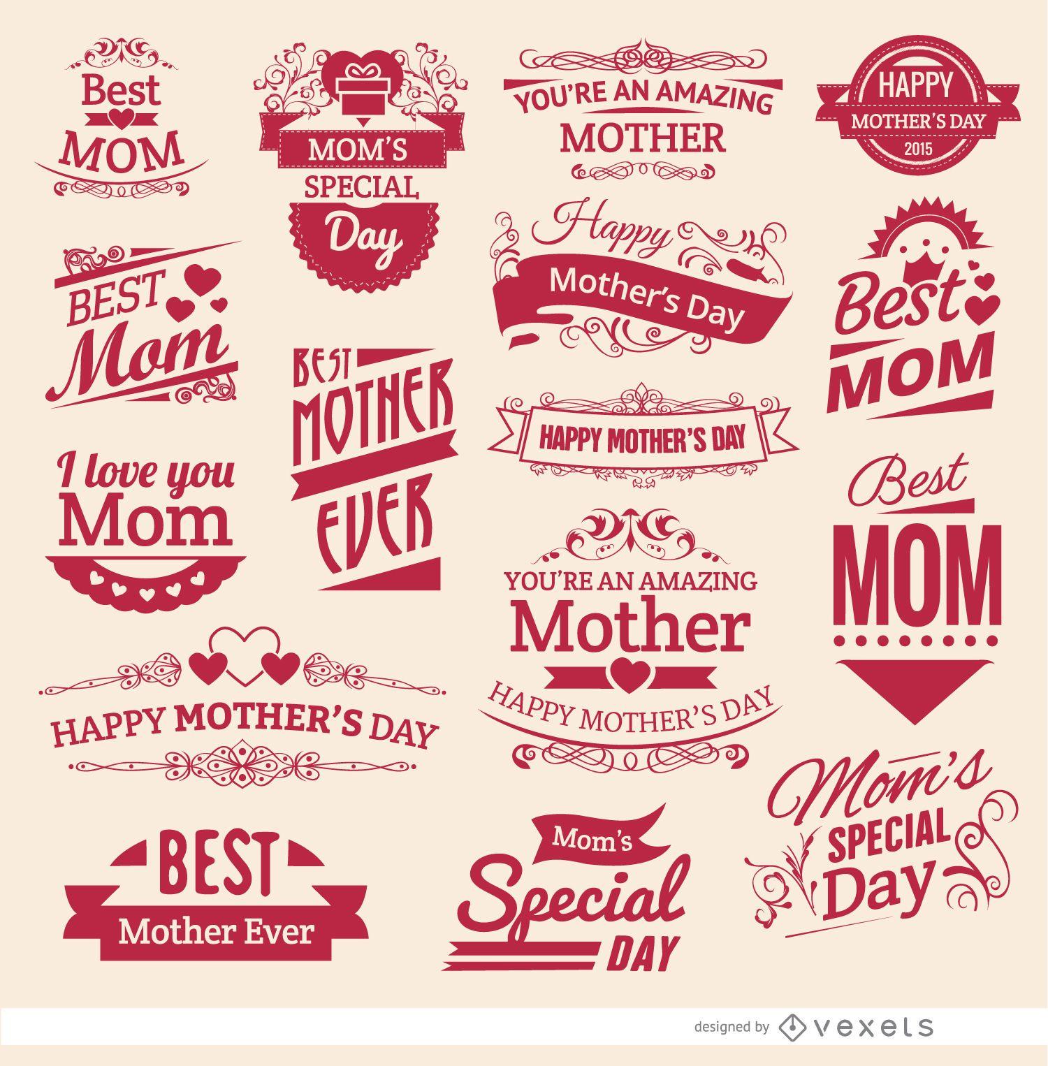 16 Mother?s Day vintage badges