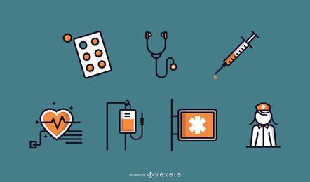 Ícones de cuidados de saúde / natureza