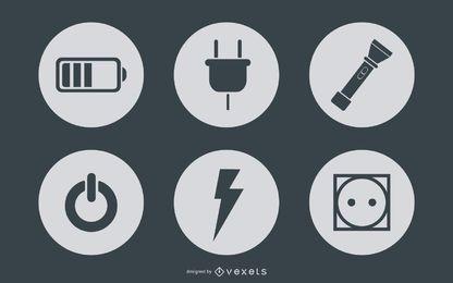 Círculos simplistas de ícones de energia e potência