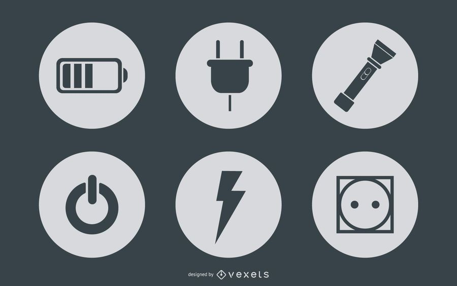 Círculos de iconos de energía y poder simplistas