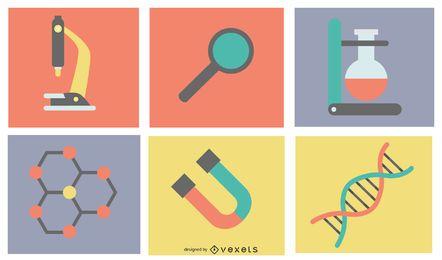Flache wissenschaftliche Icons Pack