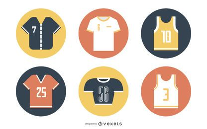Conjunto de ícones de camisetas e roupas esportivas coloridas