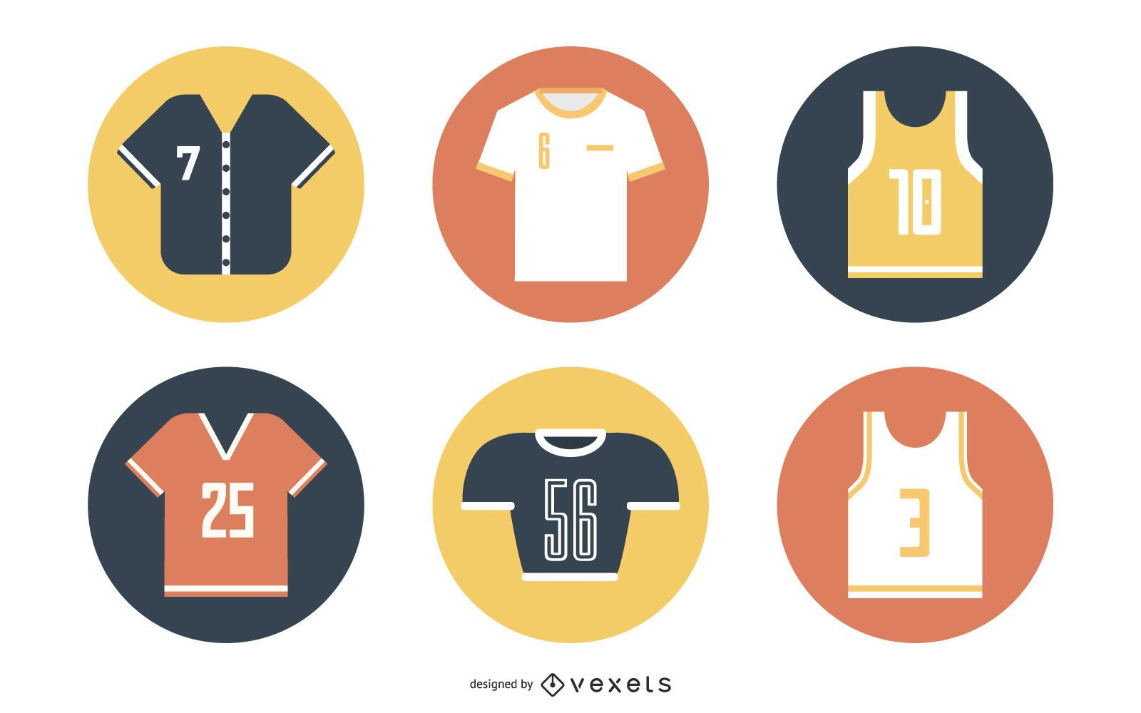 Colorful Jersey & Sportswear Icon Set