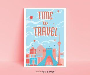 Viagem ao redor do poster retro do mundo