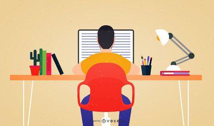 Homem negócios, caricatura, trabalhando, escrivaninha