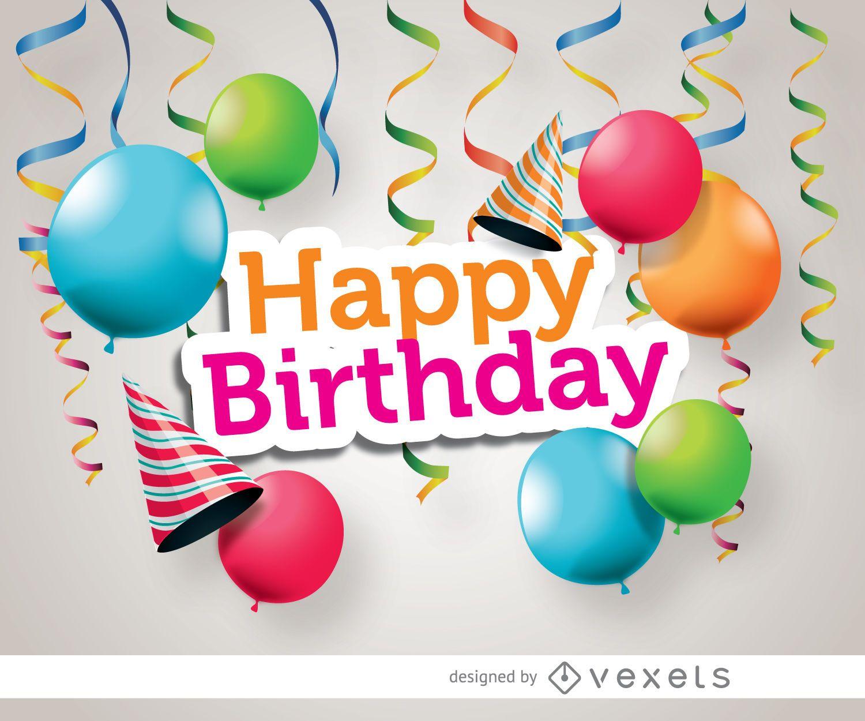 Birthday party hats ribbons balloons