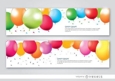 2 Party Luftballons Banner