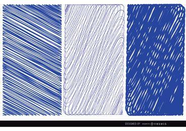 3 plumas de texturas azules