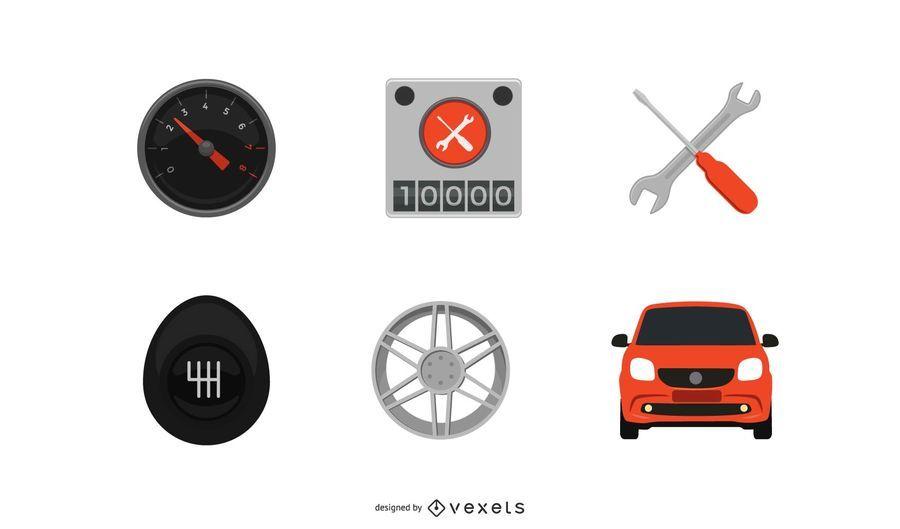 Pacote de ícones de peças e carros planos