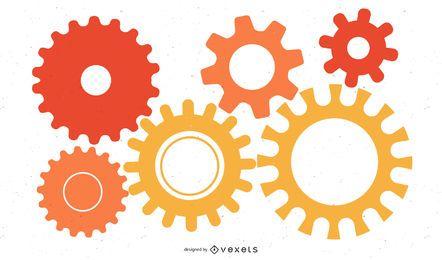 Fondo colorido del mecanismo de ruedas dentadas