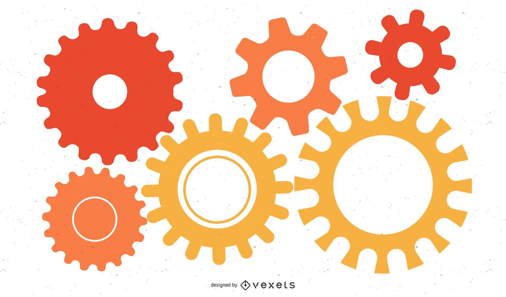 Colorful Cogwheels Mechanism Background