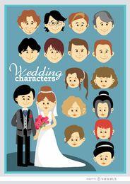 Casal de casamento personalizado dos desenhos animados