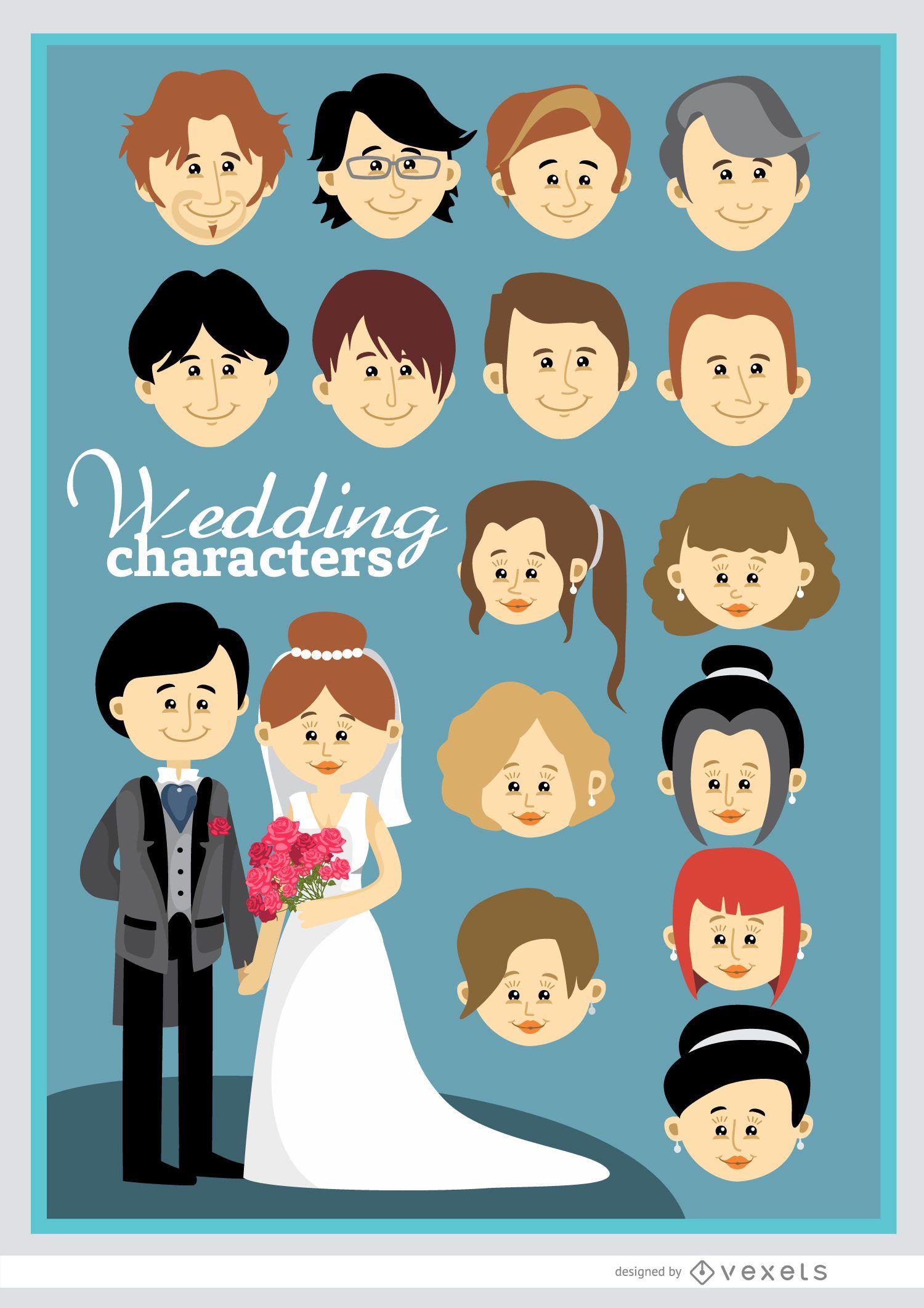 Kundenspezifische Hochzeitspaare Der Karikatur Vektor Download