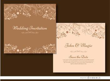 Marrón invitación floral de la boda