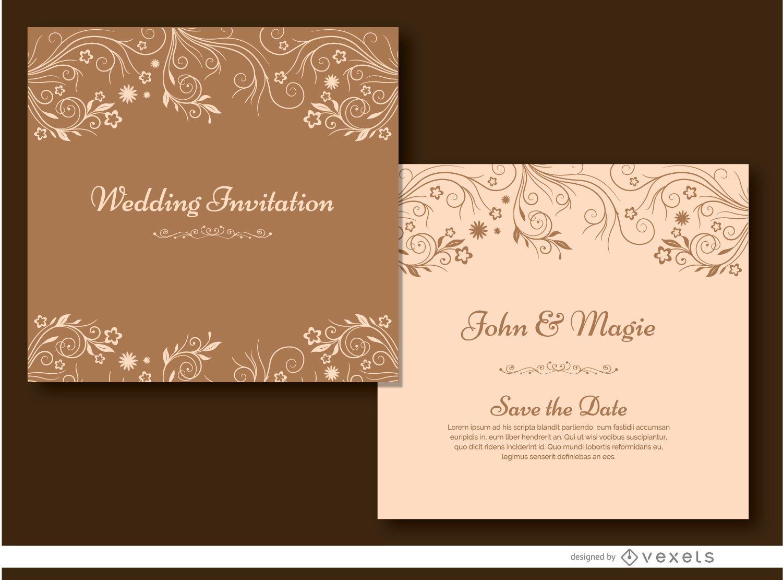 Brown floral wedding invitation Vector download