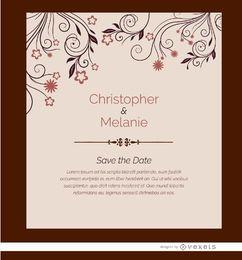 Flores de cartão de convite de casamento