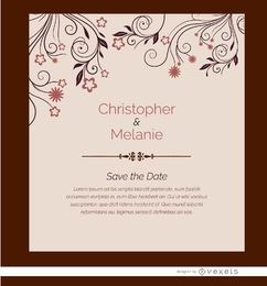 Hochzeitseinladungskarte Blumen
