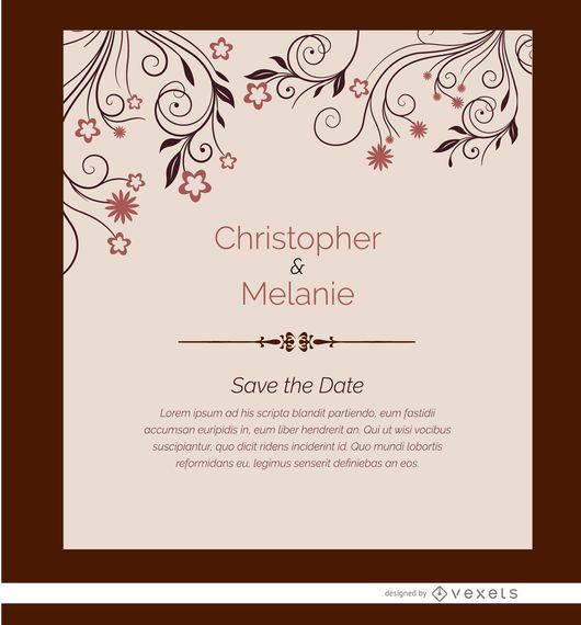 Tarjeta de invitación de matrimonio flores