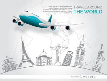 Monumentos de doodle de viagem de avião