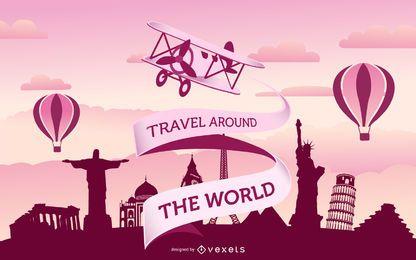 Cartaz do mundo de viagens vintage